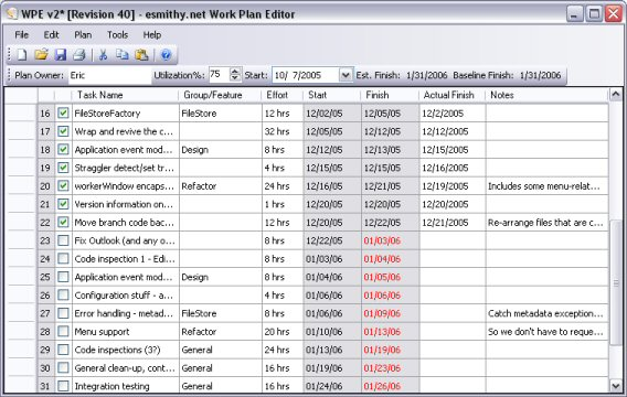 Work Plan Editor  Maintain Your Personal Schedule
