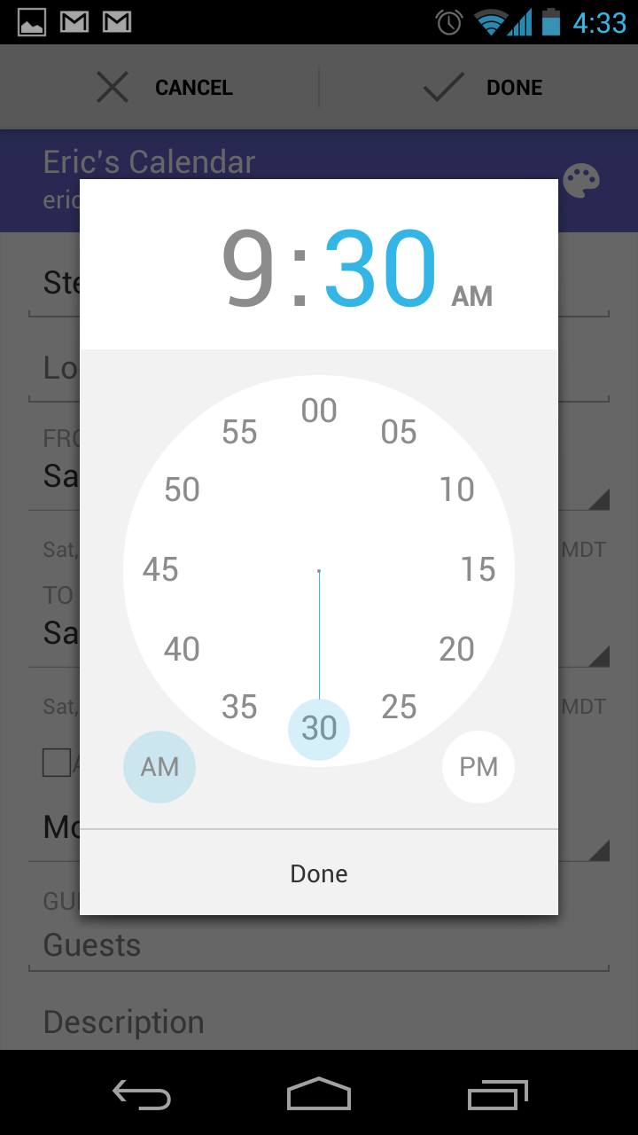 Android Image Picker ui gem: android calendar time picker